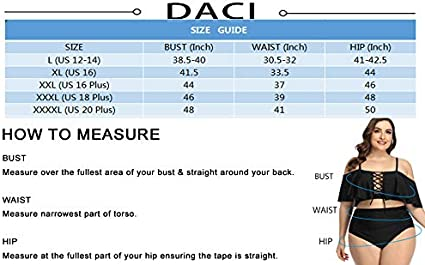 Daci Women Plus Size Swimsuits Lace Up Bikini Tummy Control Two Piece Ruffle Bathing Suits