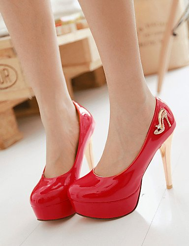 UK8 stiletto tacones EU 38 US10 ZQ tac Rosso CN43 Bianco cuero 5 negro Rosso Punta ® oficina ¨ tacones di n Lavoro mujer Scarpe EU42 casual patentado 5 redonda qpwpP0S