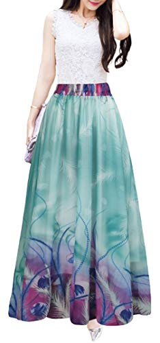 (Afibi Women Full/Ankle Length Blending Maxi Chiffon Long Skirt Beach Skirt (X-Large, Design Y))