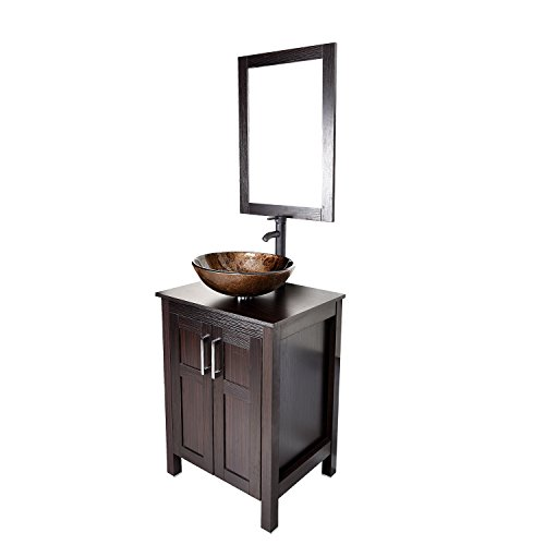 24 Inches Traditional Bathroom Vanity Set in Dark Coffee Finish, Single Bathroom Vanity with Top and 2-Door Cabinet, Brown Glass Sink Top with Single Faucet Hole (Vessel Sink Vanity Set)
