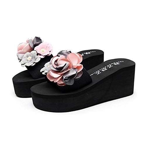 femeninas EU38 3 moda la alto cómodo Color de antideslizantes talón Zapatillas UK5 paño Tamaño la de talón del del CN38 del alto 3 playa verano Cinturón del Zapatillas 5 dafqSd