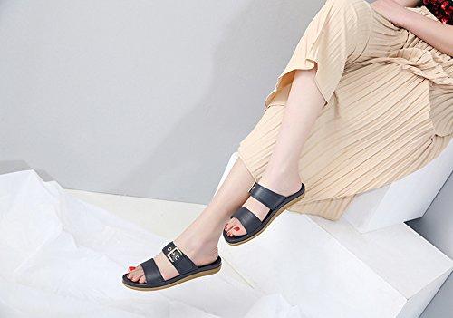 en pour de Femmes Sandales Chaussures Métal D'été Ruiren des Plates Occasionnelles Bleu Dames ZxqHSwU