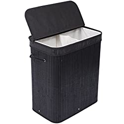 BirdRock Home Double Laundry Hamper with Lid and Cloth Liner | Bamboo | Black | Easily Transport Laundry Basket | 2 Section Collapsible Hamper | String Handles