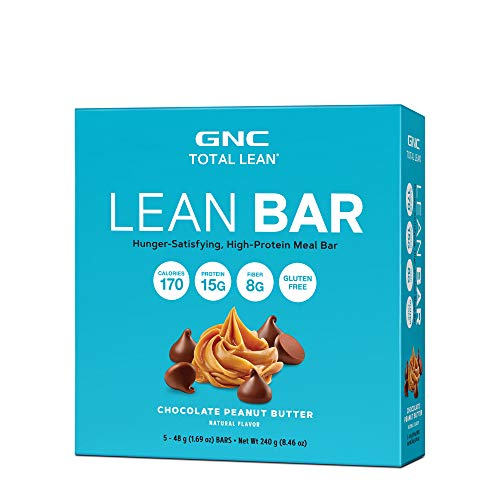 GNC Total Lean Lean Bar, Chocolate Peanut Butter, 5 Bars, Supports a Healthy Metabolism