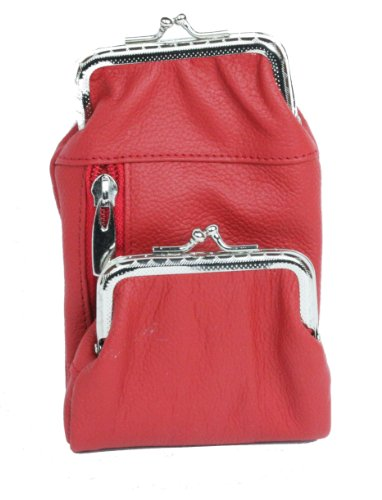Womens Leather Cigarette and Lighter Case with Twist Clasp (Red)