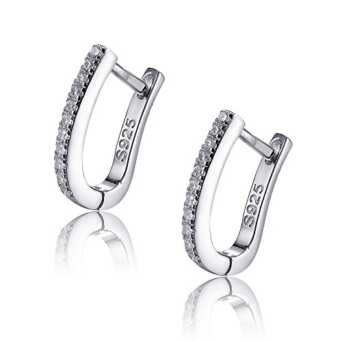 Sterling Silver Tiny Small Hoop Huggie Earrings Ear Cuffs Mricro Pave CZ Earrings 1.1cm Hoops (Huggie Hoop Pave)