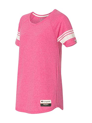 (Champion Women's Authentic Originals Triblend Varsity Short Sleeve Tee, Lotus Pink Heather X-Large)