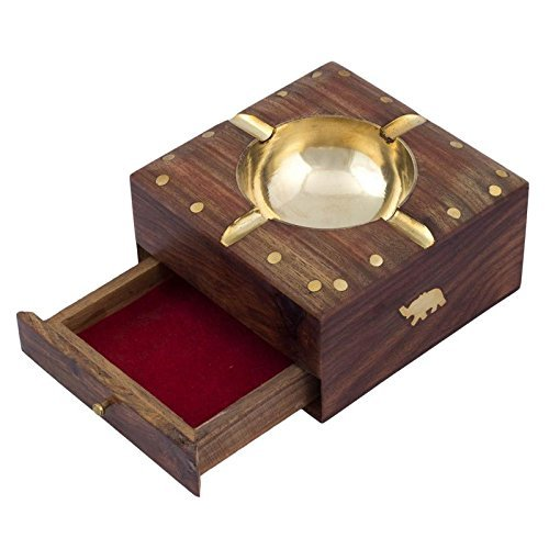 The Indian Arts Golden Colour Handmade Beautiful Designer Square Shaped Wooden Ashtray with Elephant Design Enlay & Drawer