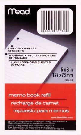 [Mead 6-Ring Memo Book Refill Paper (MEA46530), White Narrow Rule, 3 x 5, 80 Sheets/Pack - 3 PACKS] (6 Ring Memo Binder)