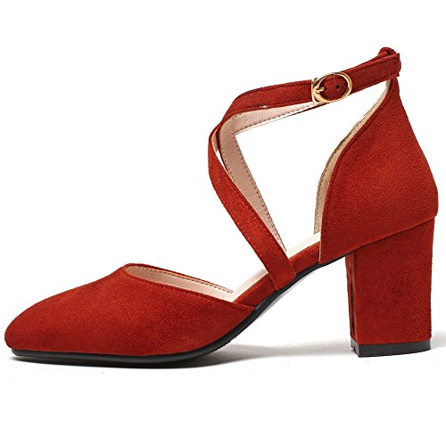 Pumps Cross Toe Women's Block Toe Closed Heel D'orsay High KingRover Square Shoes Red Buckle Trendy Strap YzxIdwnq7