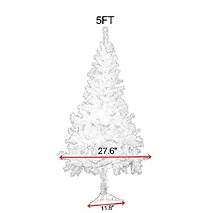 JAXPETY New Artificial Christmas Tree Unlit with Solid Stand Holiday Festival Decor White 2