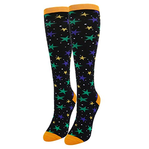 Women's Novelty Funny Knee High Socks, Crazy Over the Calf Colorful Stars Socks