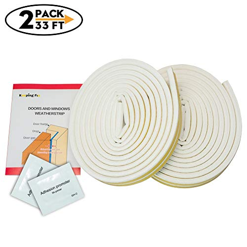 2 Pack 33Ft Long Insulation Weatherproof Doors and Windows Soundproofing Seal Strip with Adhesion Promoter(2PCS) Collision Avoidance Rubber Self-Adhesive Weatherstrip(White)