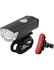 Cykellampa, LED-cykelbelysning, 300 LM, XPE vattentät, USB-uppladdningsbar cykelbelysning, fram- och bakljus, stötsäker och regntålig, utomhus- och nattkörning