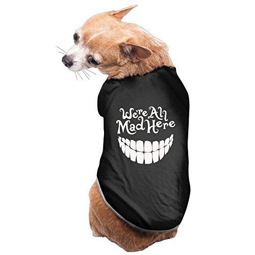 Bekey Funny Evil Teeth We're All Mad Here White Pet Dog Cat Vest Black Size L - Cat Costumes Alice In Wonderland