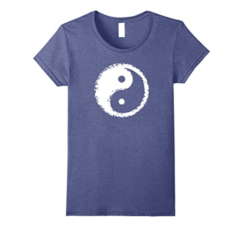 70s Look For Women (Womens Yin Yang Retro Hippie Groovy Destroyed 1960s 1970s Look Top Medium Heather Blue)