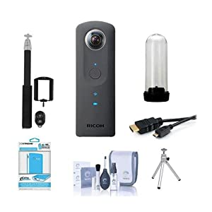 Ricoh Theta S 360 Degree Spherical Panorama Camera, Black - Bundle With Universal Power Bank Backup 5200mAh, Cleaning Kit, Table Top Tripod, HDMI Micro Cabl 6', Selfie Stick, TH-1 Hard Case