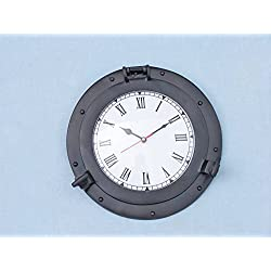 Oil Rubbed Bronze Deluxe Class Porthole Clock 12 - Black - Nautical Wall Clock