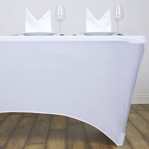 BalsaCircle 4 Feet Rectangular Spandex Fitted Elastic Stretchable Tablecloth - White