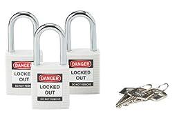Brady 118949 White, Brady Keyed Alike Safety PadLock (3 Locks)