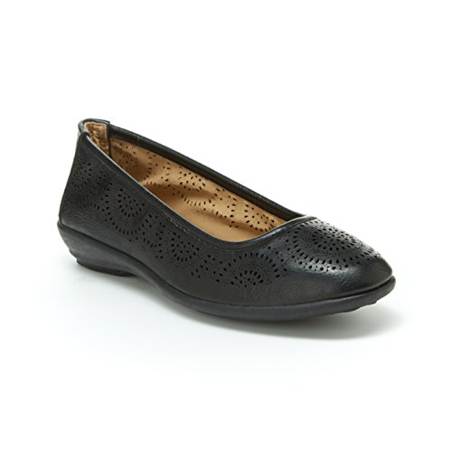 Harborsides Sunny Women Comfort Flats, Memory Foam Insole, Flex A Lite - And Circular Flat Black