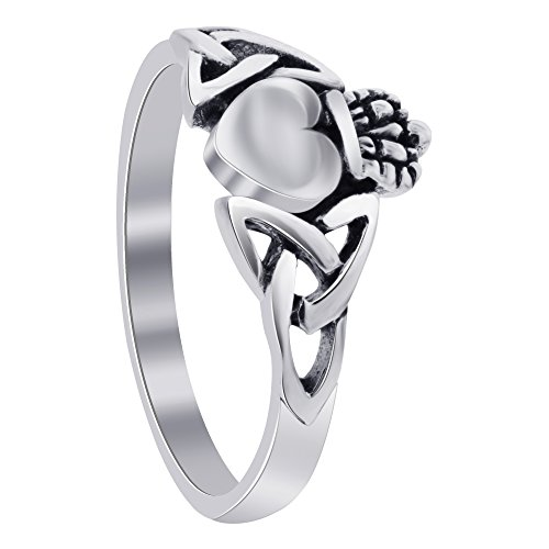 Gem Avenue 925 Sterling Silver Heart Friendship and Love Irish Celtic Knot Claddagh (Celtic Claddagh Knot Ring)