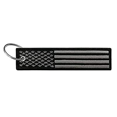 Flag Keychain Tag with Key Ring, EDC for Motorcycles, Scooters, Cars and Gifts (USA Blackout): Automotive