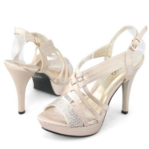 SHOEZY 2014 Womens Cross Strappy Rhinestones High Heels Platform Dress Sandals