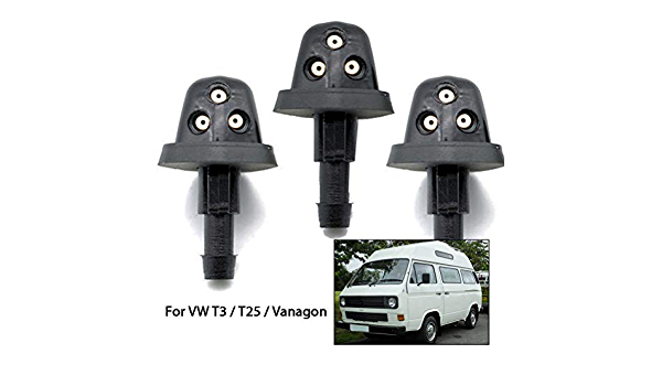 MOUNTAIN MEN 3Pcs Front Rear Windscreen Washer Jets Triple Washer Nozzle Jet Set Kit For VW T25 T3 Vanagon