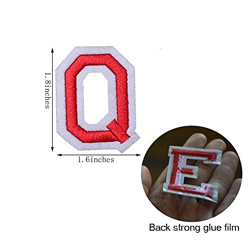 SHELCUP Iron on Letter Patch for Clothes, 26pcs Alphabet A to Z Word Iron-on Patches, Sew-on Appliques for Jeans/Jackets/Backpacks/Kids Clothing to Cover Rip/Logo, Classic Red