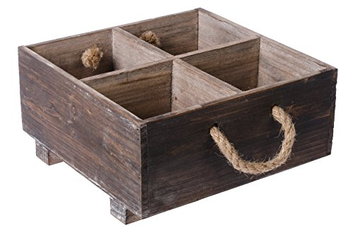 Dwellbee Rustic Wood Organizer Caddy with Rope Handles, Square (Pine Wood)