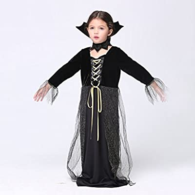 TINKSKY Witch Costume Children Halloween Cosplay Showing Costume Kit for Girls - Size L(Black Dress): Clothing