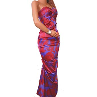 Eva Longoria's Dress Print Long Full Evening Strapless Stretchy (Medium, Purple & Red Pattern)
