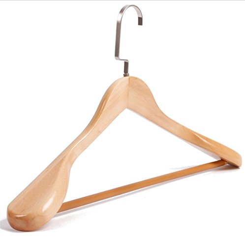 WWZY Adult Hangers Solid wood Men Ms Wide shoulder With rod clothing store No trace Coat Suit Hangers (Pack of 10) by WWZY