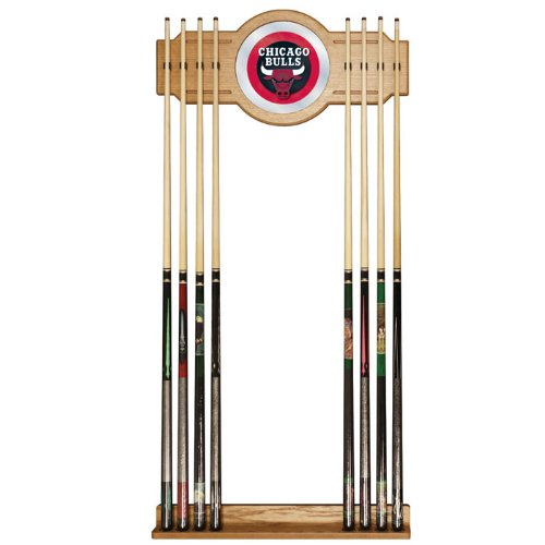 NBA Chicago Bulls Billiard Cue Rack with Mirror by Trademark Gameroom