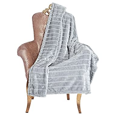 Bertte Ultra Velvet Plush Super Soft Decorative Stripe Throw Blanket-50 x 60 , Smoke Grey