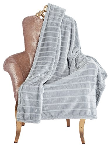Find Bargain Bertte Ultra Velvet Plush Super Soft Decorative Stripe Throw Blanket-50x 60, Smoke Gr...