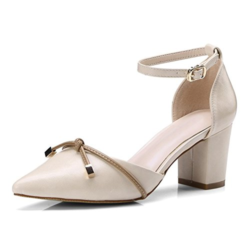 Zapatos de Mujer PU Primavera Otoño Básico Sandalias de Bomba Hebilla Puntiaguda Zapatos de Tacón Grueso para Oficina y Carrera al Aire Libre Un