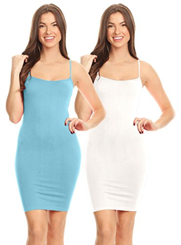 Women's Basic Seamless Camisole Slip Dress - Long Spaghetti Strap Cami,2 Pk Candy Blue/White,One Size