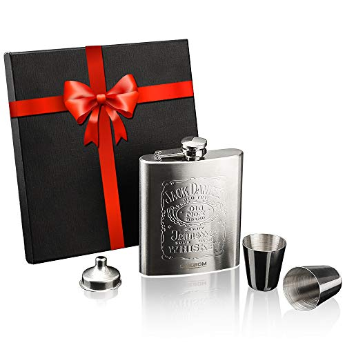 OneBom Hip Flask 7oz, Engraved Flask with Funnel & Shot Glass Set, FDA 304 Stainless Steel, Brushed Leak Proof, Portable Pocket Size with Gift Box for Wine Lover (Stainless Steel)