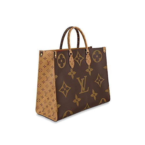 (MAGICLOOK ON THE GO Inspired Style Women Handbag Tote Shoulder Extremely Large 16.14 x 13.39 x 7.48 inches Bag Brown Monogram Plus Reverse Universal Color Organizer Onthego Bag made of Canvas)