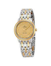 Omega DeVille Prestige Champagne Diamond Dial Steel and Yellow Gold Ladies Watch 42420276058001