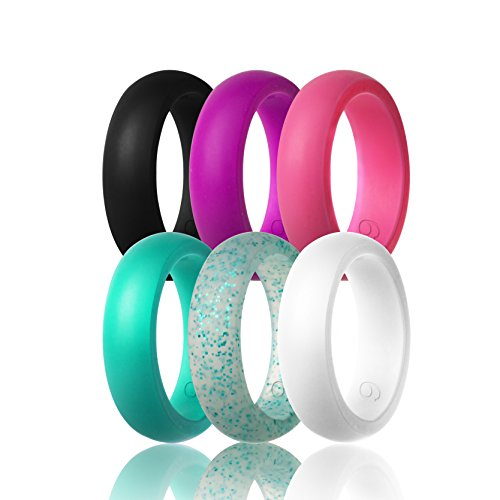 Women's Silicone Wedding Ring,6 Ring Pack (Black,Deep purple,Turquoise,Pink,White and Turquoise Glitter, size 6)