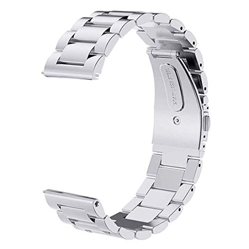 for Gear S3 Frontier/Classic Band/Galaxy Watch 46mm Bands,V-MORO 22mm Solid Stainless Steel Metal Business Bracelet Strap for Samsung Gear S3 Frontier/Classic Smartwatch/Galaxy Watch 46mm R800 Silver