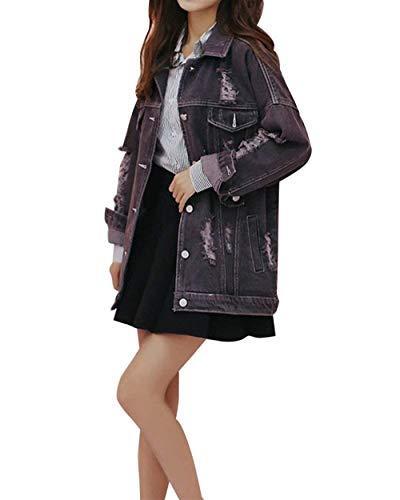 Denim Stile Marca Bavero Giubbino Outerwear Cappotto Rauchfarben Jeans Casuali Manica Fidanzato Cavo Donna Lunga Baggy Mode Di Bolawoo Eleganti Giacche Strappato Vintage Fashion OYq01SHvx