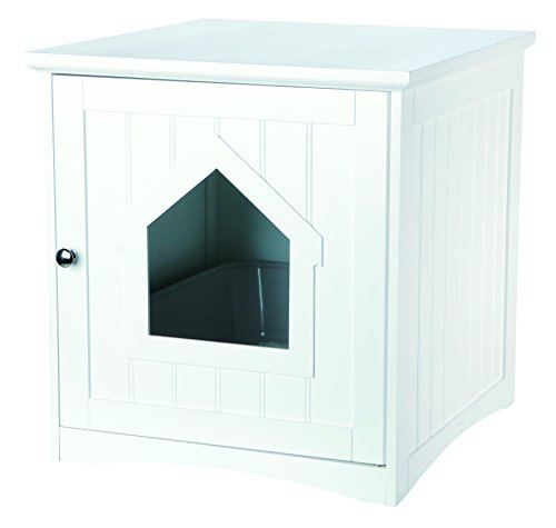 Trixie Pet Products Wooden Cat Home & Litter Box, White -  40290