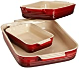 Le Creuset Stoneware Classic Rectangular Dish, Cherry, Set of 3