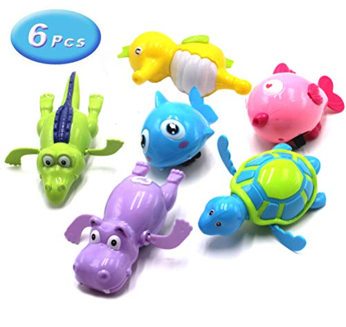 Floating Wind-up Bath Water Toys - 6 Pcs Sea Animal Bath Toy for Kids and Toddlers - Turtle Hippo Crocodile Hippocampus Fish, Bathtub Playset Clockwork Toy Kid Educational Water Toys(Random Colors)