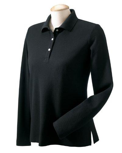 Devon & Jones Ladies' Pima Piqué Long-Sleeve Polo XL Black