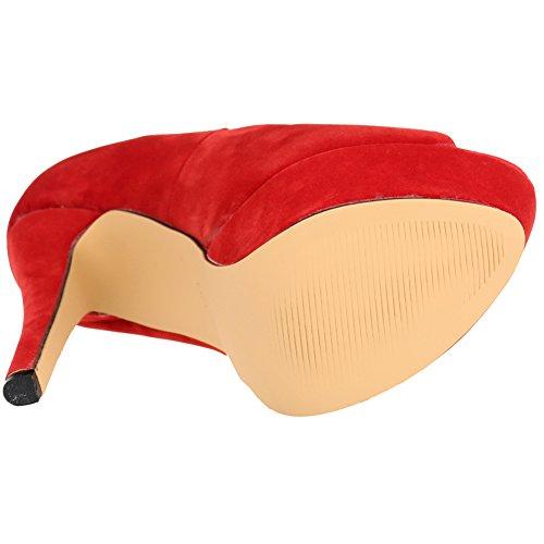 Scarpe Dell'unità Di Spillo Rosso Elegante Toe Brevetto Velluto Donna Da Elaborazione Loslandifen Cuoio A Peep Di Alto Piattaforma Tacco gAgcFnORW